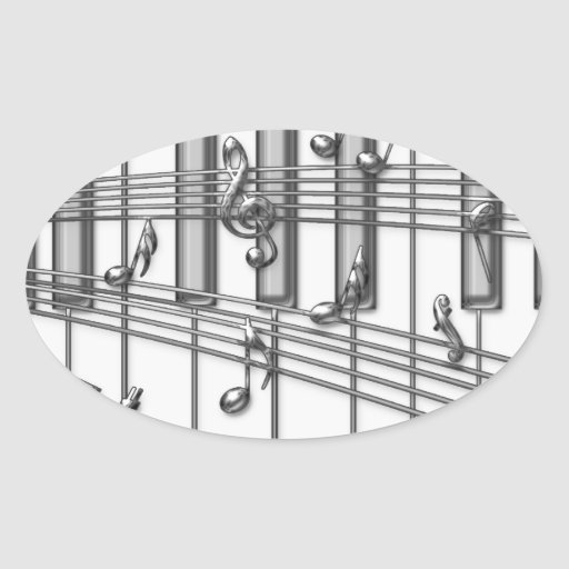 Piano Keyboard Silver Music Notes Oval Sticker