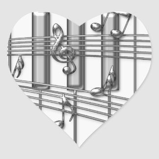 Piano Keyboard Silver Music Notes Heart Stickers