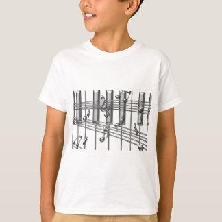 Piano Keyboard Silver Music Notes T-Shirt