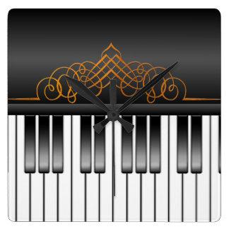 Piano Keyboard Square Wall Clock