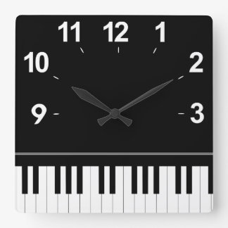 Piano keyboard square wall clock