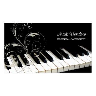 Piano Keyboard+swirls teacher tuner business cards