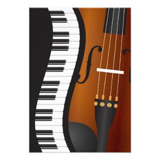 Piano Keyboards Wavy Border with Violin Invitation