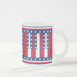 Piano Keys American Flag Pattern Frosted Glass Coffee Mug