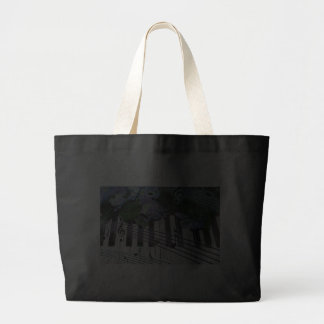 Piano Keys and Flowers Tote Bags