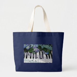 Piano Keys and Flowers Large Tote Bag