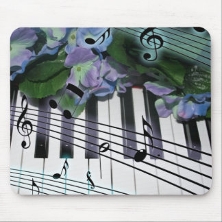 Piano Keys and Flowers Mouse Mat