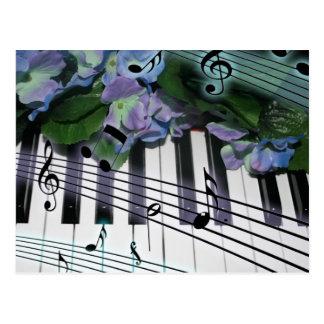 Piano Keys and Flowers Postcard