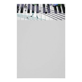 Piano Keys and Flowers Stationery
