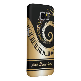 Piano Keys and Gold Music Notes
