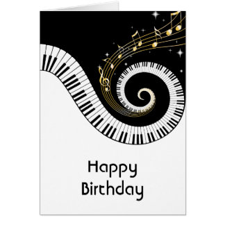 Piano Keys and Gold Music Notes Birthday