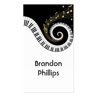 Piano Keys and Gold Music Notes Business Card Templates