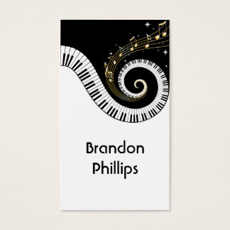 Piano Keys and Gold Music Notes Business Card