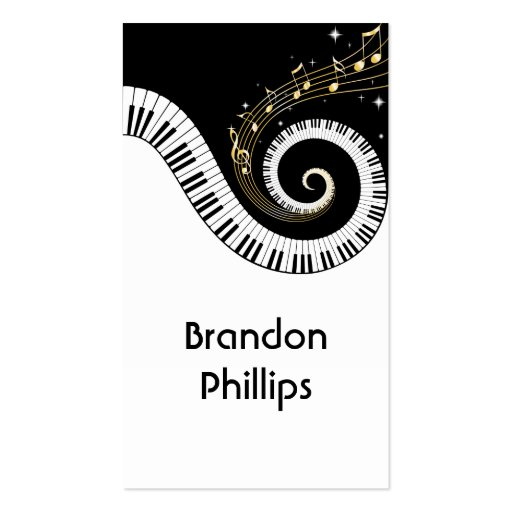 Piano Keys and Gold Music Notes Business Cards