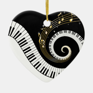 Piano Keys and Gold Music Notes Christmas Ornament