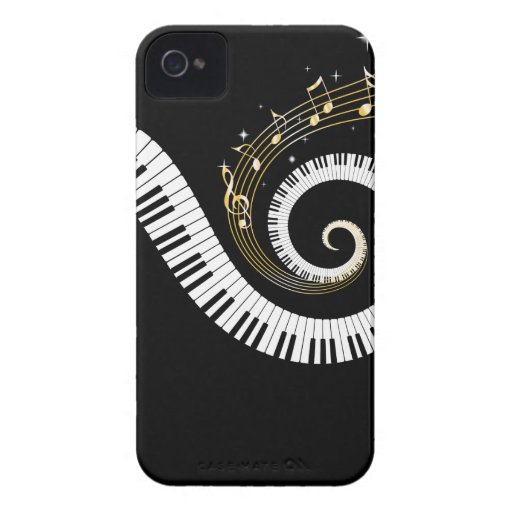 Piano Keys and Gold Music Notes iphone 4 iPhone 4 Case-Mate Cases