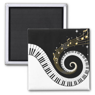 Piano Keys and Gold Music Notes Magnet