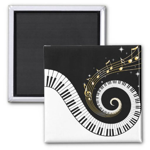 Piano Keys and Gold Music Notes Magnet Magnet