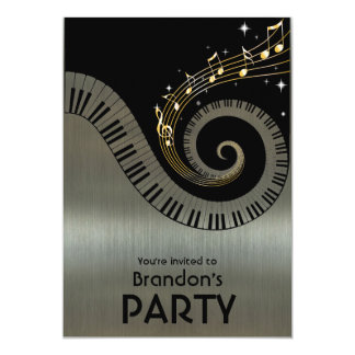 Piano Keys and Gold Music Notes Party 13 Cm X 18 Cm Invitation Card