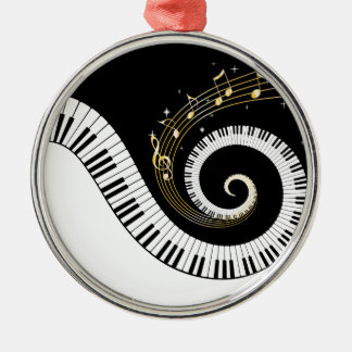 Piano Keys and Gold Music Notes Pendant Ornament