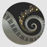 Piano Keys and Gold Music Notes silver Round Sticker