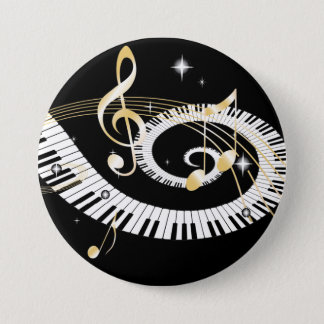 Piano Keys and Golden Music Notes 7.5 Cm Round Badge