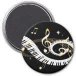 Piano Keys and Golden Music Notes 7.5 Cm Round Magnet
