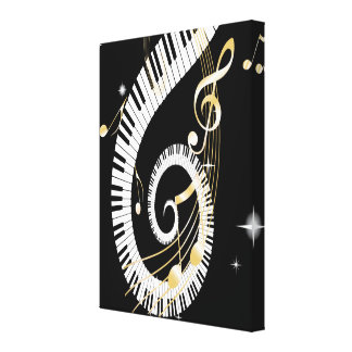 Piano Keys and Golden Music Notes Canvas Print