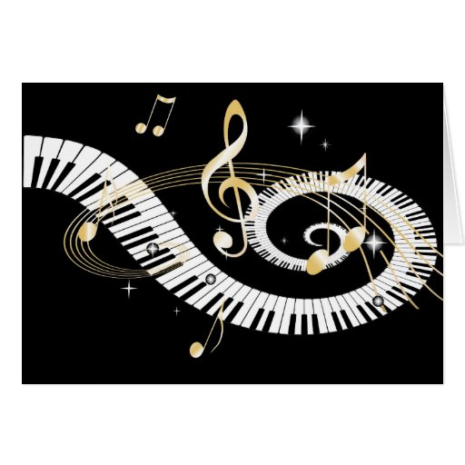 Piano Keys and Golden Music Notes Card