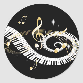 Piano Keys and Golden Music Notes Classic Round Sticker