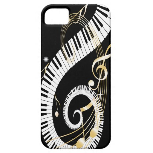 Piano Keys and Golden Music Notes iphone5 iPhone 5 Cover
