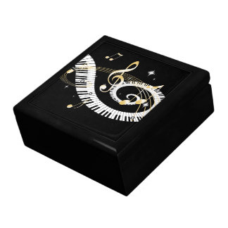 Piano Keys and Golden Music Notes Jewelry Box