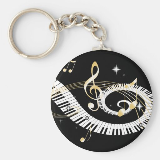 Piano Keys and Golden Music Notes Key Chains