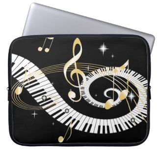 Piano Keys and Golden Music Notes Laptop Computer Sleeves