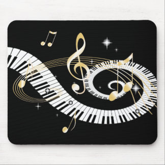 Piano Keys and Golden Music Notes Mouse Mat