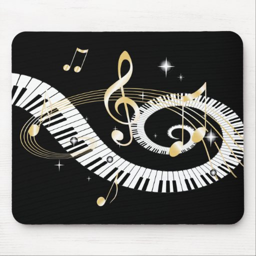 Piano Keys and Golden Music Notes Mousepads
