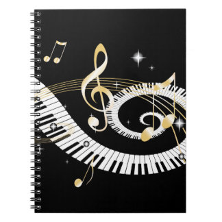 Piano Keys and Golden Music Notes Notebooks