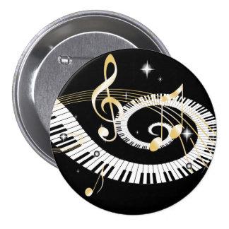 Piano Keys and Golden Music Notes Pins