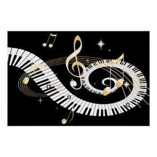 Piano Keys and Golden Music Notes Poster