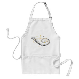 Piano Keys and Golden Music Notes Standard Apron