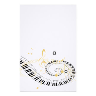 Piano Keys and Golden Music Notes Stationery