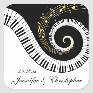 Piano Keys and Golden Music Notes Wedding Square Sticker