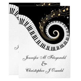 Piano Keys and Golden Musical Notes Wedding 13 Cm X 18 Cm Invitation Card