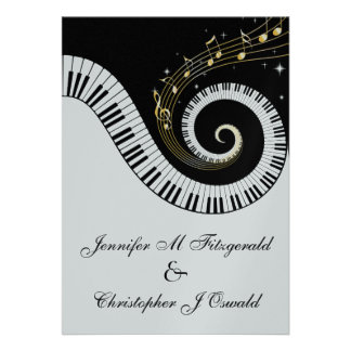 Piano Keys and Golden Musical Notes Wedding Invite