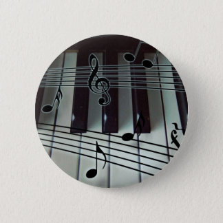 Piano Keys and Music Notes 6 Cm Round Badge