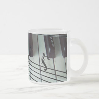 Piano Keys and Music Notes Frosted Glass Coffee Mug