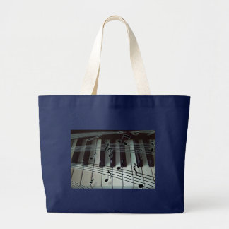 Piano Keys and Music Notes Large Tote Bag