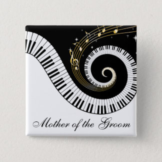 Piano Keys and Music Notes Mother of the Groom 15 Cm Square Badge
