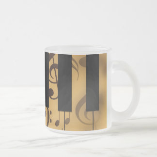 Piano Keys and Musical Notes Frosted Glass Mug