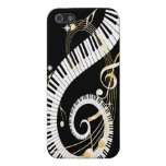 Piano Keys and Swirling Golden Music Notes Case For iPhone 5